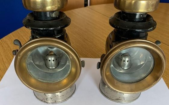 Pair of Lucas Steam Car lights and foot bell.