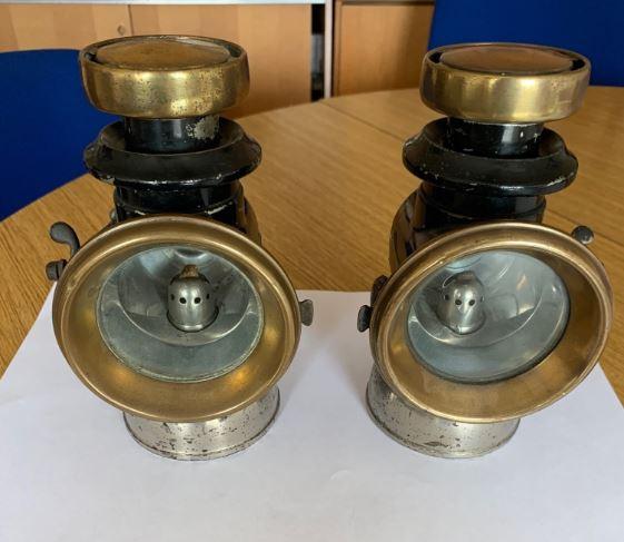 Pair of Lucas Steam Car lights and foot bell.